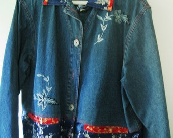 Vintage Chico's Denim Jacket With Embroidery and Satin Trim In Asian Design, Unusual