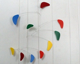 Mobile Hanging Sculpture in Rang Style - Modern Rainbow Color for your Ceiling - Large Mobile 27w x 32t - P159