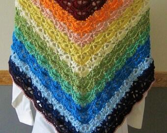 Crocheted Lacy Shawl - Rainbow