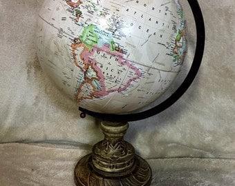 World Globe on Carved Wood Base