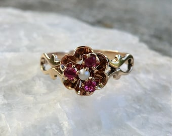 Antique 10K Gold Ring Pearl with Simulated Rubies Buttercup Setting Edwardian
