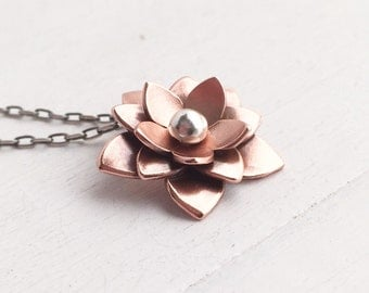 Copper Lotus Necklace - Chinese New Year, Rebirth, Lotus Flower, Gifts For her, Mothers day gifts, Yoga jewelry