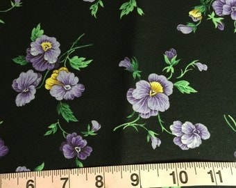 """DESTASH 56"""" Quilter's Cotton Fabric Yellow and Purple Pansies on Black"""