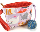 Large Knitting Crochet Project Bag Clutch *With Yarn Guide* - Whiskers