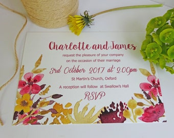 Autumn and Fall Flower Watercolour Wedding Invitations. Wedding stationery, wedding stationary, RSVP, table name, place card, save the date.