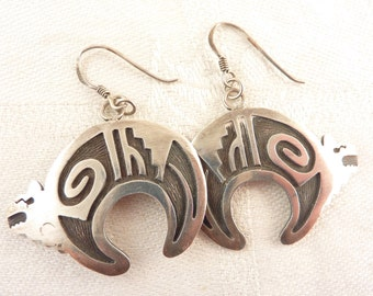 Vintage Sterling Geometric Half Moon Animal Fish Hook Earrings