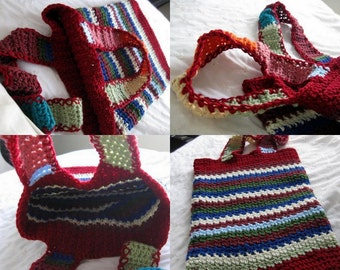 Grocery Tote Bag, Large Multicolor Crochet Market bag