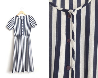 Size M // STRIPED MAXI DRESS // Navy Blue & White - Semi-Sheer - Short Sleeve - Gauze - Vintage '70s/'80s - Minimalist.