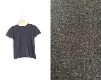 Size XXS/XS // GLITTERY Metallic T-Shirt // Black - Fitted - Vintage '90s.