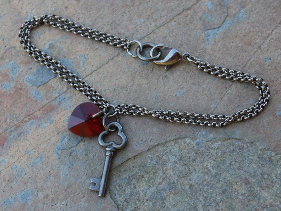 Gothic romance bracelet - gunmetal black key & deep red Swarovski crystal heart charm - perfect for Valentines Day - free shipping in USA