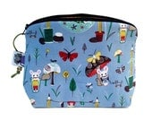 Zippered NOTIONS BAG with zipper pull -  Corduroy Mouse
