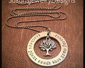 Teachers Plant Seeds Necklace w/hidden message - Teacher Necklace - stainless steel 1 sided washer - choice of chain and tree of life charm