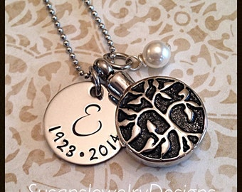 Family Tree of Life Urn Necklace - stainless steel 1 sided disc & tree cremation urn and chain - Swarovski crystal -custom wording available