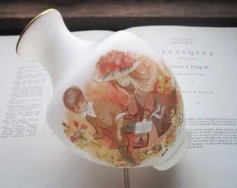 Large Vintage Flower Vase * 1960's 1970's Illustration * Frosted Napco Vase * Japan Import Vase * Wedding Gift * Vintage Wedding Decor *