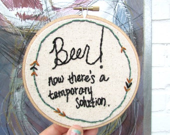 the Homer Simpson hoop .. one of a kind, witty, beer lover embroidery