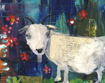 Billy Goat || mixed media acrylic whimsical cozy CANVAS print