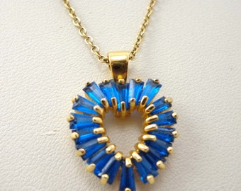 Heart Necklace Vintage Blue Pendant Gold Vermeil Sterling 925 Signed 738