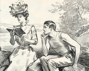 Gibson Girl - Advice to Students - Humorous 1906 Antique Charles Dana Gibson Print