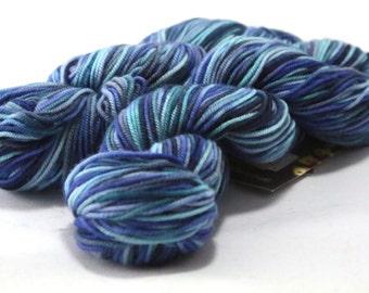 Mirasol Hacho Hand Dyed Merino Wool Yarn, Shade 306, Two Skeins Matching Dye Lot, Deep Blue Ocean Variegated Merino