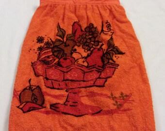 Vintage Apron, Terry Cloth Apron, Orange Apron, Vintage Half Apron, Retro Apron, 1970s Apron