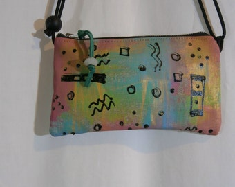 Cute Hand Painted Small Messenger Bag. FREE SHIPPING!