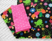 Kid's lunchbox Set, Froggies, Placemat and Napkins, School Fabric Placemat, Kids Placemat Set, Cloth Napkins, Mushrooms, Pink Polka Dots