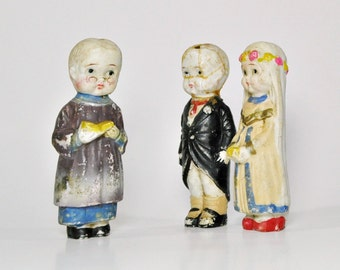 Set of Bisque, Bride, Groom and Preacher Wedding Cake Toppers, 1920's
