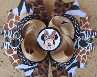 Minnie Mouse Safari Animal Print Hairbow Zebra Leopard Boutique Hair Bow