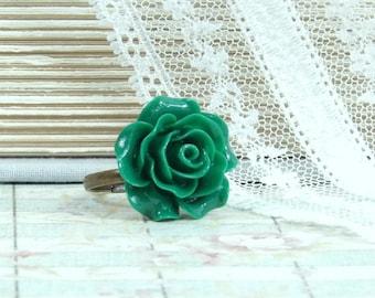 Emerald Green Ring Green Rose Ring Adjustable Ring Green Floral Ring Victorian Ring Green Flower Ring