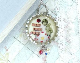 Tea Necklace Bottle Cap Necklace Tea Cup Necklace Tea Lover Gift Vintage Style Tea Party Necklace