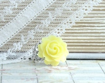 Yellow Flower Ring Victorian Ring Yellow Rose Ring Statement Ring Summer Ring Yellow Floral Ring