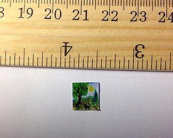 Tiny Miniature Dollhouse Art Approx 3/8x3/8 inch Painting Cat, Tree & Flowers