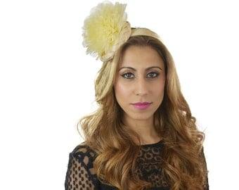 Cream Ascot D Fascinator Hat for Kentucky Derby, Weddings & Proms