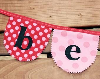 Valentine cloth garland, Valentine decor, Valentine banner, Valentine fabric banner