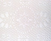 Matelasse Fabric in Natural White with Medallion Design by the yard