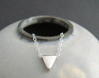 """tiny triangle bead necklace. sterling silver geometric small dainty jewelry simple layering choker delicate everyday petite charm gift. 1/4"""""""