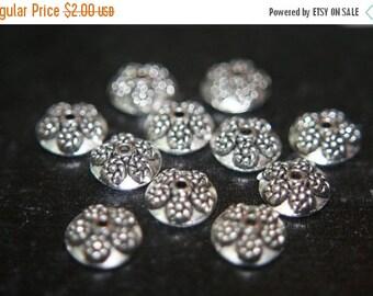 AUTUMN SALE SALE - Antique Silver Plated Dome Shape Floral Bead Caps- 10mm x 4mm- 10 pcs
