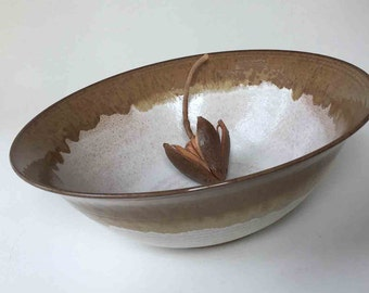 Big Serving Bowl, Rustic Autumn Brown with Speckled White, Fruit Bowl, Gift Ideas, Hostess and Gourmet, Bowls and Serving, Stoneware Pottery