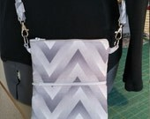 Crossbody Bag, Double Zippered Cross bag, Cell Phone Wallet, Credit Card & Money Holder, Chevron print