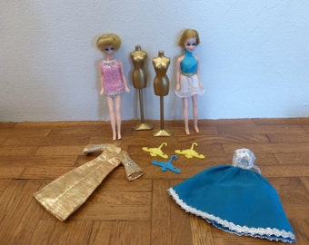 Vintage Dawn Dolls Topper Co Lot Dresses Hangers Dressforms