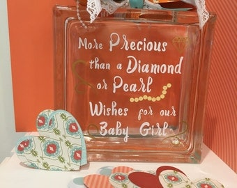 Baby Shower Guest Book  / Wish Jar - Glass Block in your custom colors - Diamonds and Pearls - Baby Shower