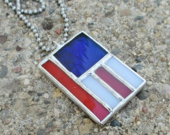 USA Flag Stained Glass Pendant Necklace