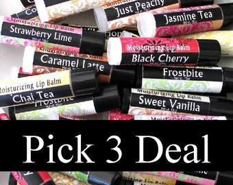 Lip Balm Special, Pick your favorite 3 lip balms, moisturizing recipe, shea, creamy