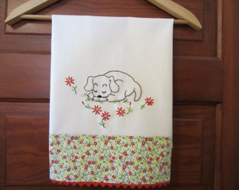 Retro Embroidered Kitchen Towel