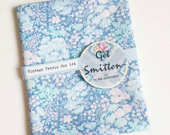 Liberty Style Meadow Flowers Blue & Pink Vintage Fabric Fat Quarter