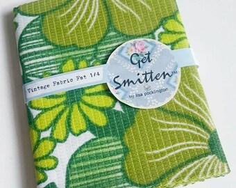 Bright Green, Tropical, Funky Retro Floral Nylon Vintage Fabric Fat Quarter