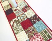 Christmas Charms Quilted Table Runner, Figgy Pudding by Basic Grey for Moda - Red Brown Aqua Quilt