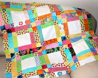 Personalized Baby Quilt, Add Your Own Secret Messages, Quilted Baby Blanket, Baby Shower Gift, Baby Girl Nursery Quilt,  MADE TO ORDER