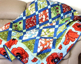 Quilted Sofa Throw, Modern Poppy and Dogwood Floral in Tangerine Orange and Aqua Blue, Laura Gunn Fabrics, Boho Chic Lap Quilt