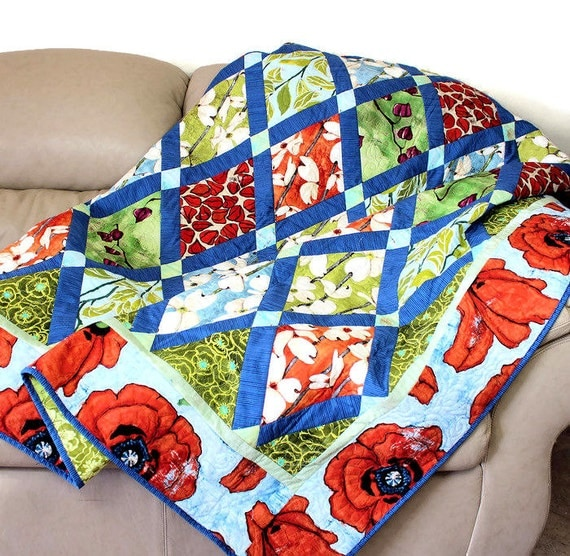 RESERVED for HOLLY only - Quilted Sofa Throw, Modern Poppy and Dogwood Floral, Tangerine Orange and Aqua Blue, Laura Gunn Fabrics Boho Chic